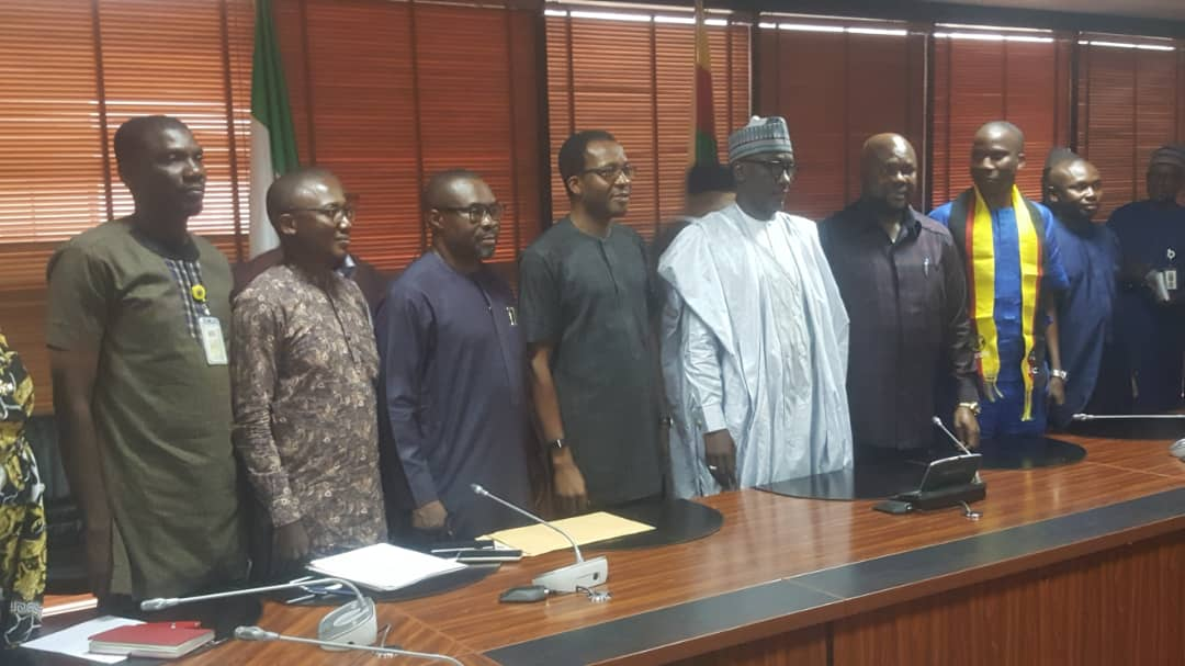 The PENGASSAN President, Comrade Nduka Ohaeri, the NUPENG President, Comrade Willie Akporeha and CWC members during a courtesy visit to the GMD of NNPC