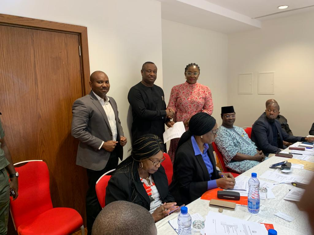 The Honourable Minister of Labour State, Festus Keyamo SAN receiving PENGASSAN's position Paper on the Review of The Guidelines on Labour Administration Issues in Contract Staffing/Outsourcing in the Oil and Gas Sector
