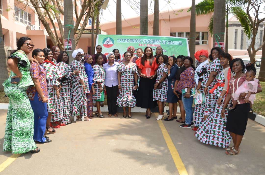 The Deputy General Secretary, Comrade Ngozi Okagbue with the women in PENGASSAN at the Women's day Celebration organized by the Trade Union Congress of Nigeria.